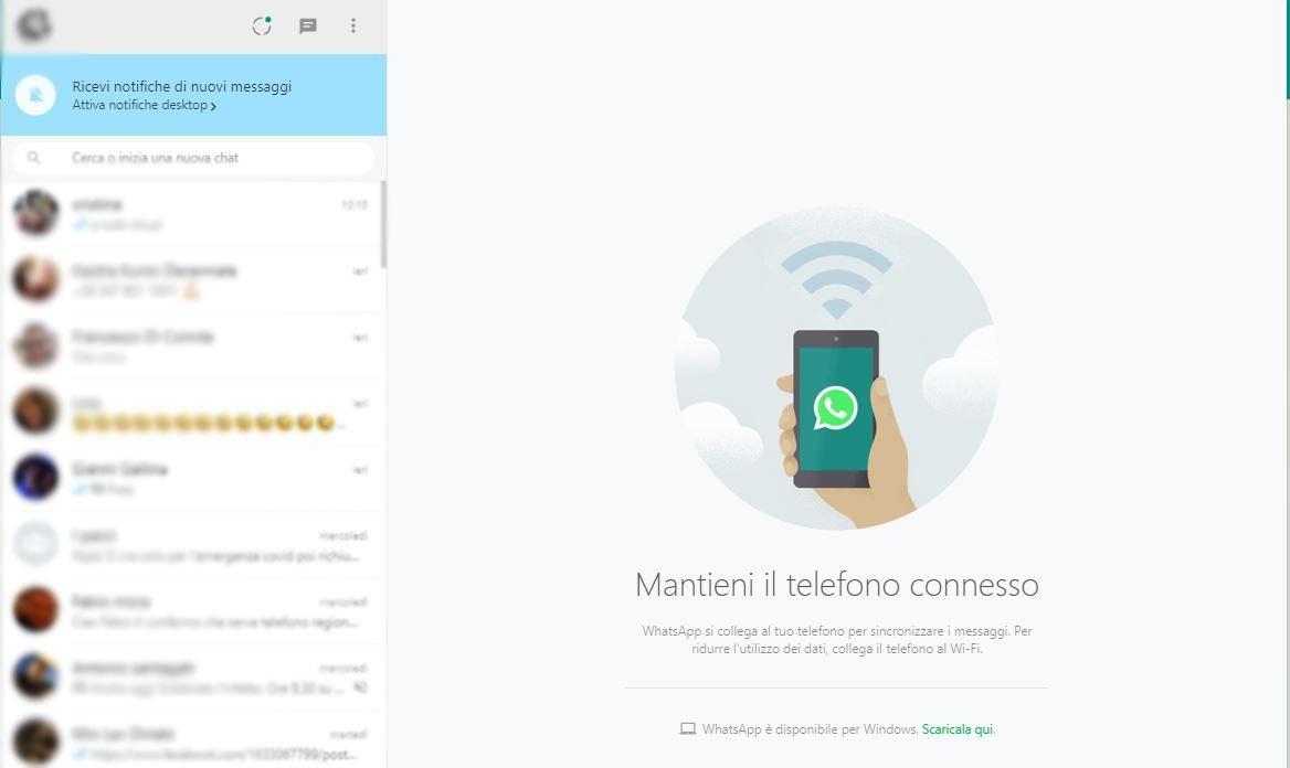 connessione wathsapp web